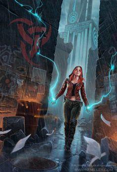 M. Wayne Miller • Tangent   Girl, lightening,  fantasy science fiction art, rain