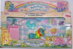 Generation One vintage 1980's My Little Pony Baby Pony with Beddy-Bye Eyes Baby Ribbon mint in box by seller serena151.  #mlpmib  #mylittlepony  #g1mlp