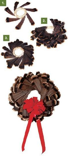 Turkey feather wreath for Christmas or Thanksgiving. I used a larger straw wreath and layered the smaller feathers onto the top. It turned out great! This looks cool Feather Wreath, Feather Crafts, Feather Art, Fall Crafts, Christmas Crafts, Christmas Decorations, Rustic Christmas, Christmas Wreaths, Hunting Crafts