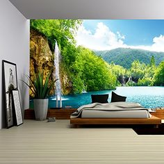 - Waterfall in Deep Forest of Croatia - Removable Wall Mural Tropical Bedroom Decor, Tropical Bedrooms, Large Wall Murals, Removable Wall Murals, Wallpaper Decor, Photo Wallpaper, Forest Waterfall, Tv Wall Design, Deep Forest