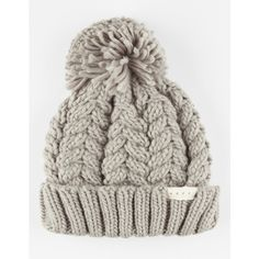 Neff Kaycee Beanie ($28) ❤ liked on Polyvore featuring accessories, hats, grey, pom beanie, grey hat, cable knit beanie, neff beanie and grey beanie hat