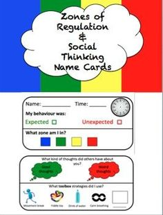 These social thinking & zones of regulation name cards help students reflect… Social Skills Autism, Social Skills Lessons, Social Skills Activities, Teaching Social Skills, Speech Therapy Activities, Social Emotional Learning, Coping Skills, Zones Of Regulation, Emotional Regulation