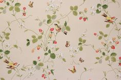 1970s Vintage Wallpaper Strawberry Vine Butterflies Birds on