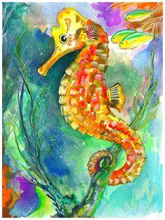 Seapony Ride - watercolor & gouache by ©Barbi Holzmann (FineArtAmerica)