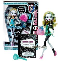 Mattel Year 2011 Monster High Diary Series 10 Inch Doll - LAGOONA BLUE with Purse, Blue Folder, Hairbrush, Diary and Doll Stand