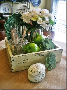 """""""Shabby Saint Patrick's Day Centerpiece""""  Confessions of a Plate Addict blog"""