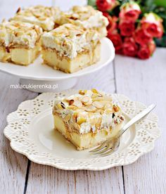 Cake pudding fudge on crackers with bananas Cake Bars, Polish Recipes, No Bake Cake, Biscotti, Cake Recipes, Cheesecake, Food And Drink, Cooking Recipes, Sweets