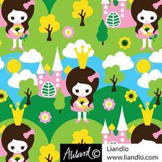 Prinsessa Fabric design for www.liandlo.com   Jersey  Johanna Ahlard - Illustration och design