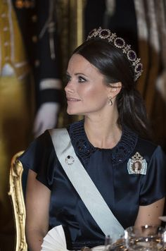 Princess Sofia in Queen Josephine Amethyst Tiara at the Canadian State Banquet.