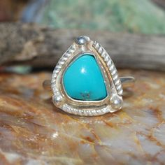 Turquoise Ring - Silver Turquoise Ring - Sterling Silver Ring - Genuine Turquoise - Southwestern Ring - Size 8 Ring - Artisan Jewelry by EarthsBountyGems on Etsy