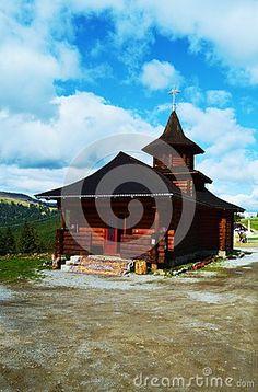 Historical monument, wooden Prislop monastery, in Romania, Maramures region, Europe.