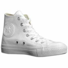 Solid all white converse chucks leather or cloth