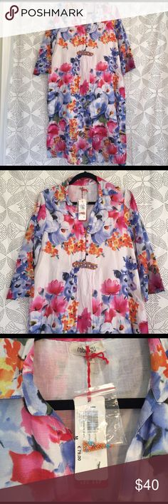 NWT Roby Zu floral dress with beaded detail NWT From Europe Roby Zu FLORAL DRESS OR COVERUP. Light and flowy floral dress with beaded detail roby zu Dresses