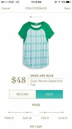 Stitch Fix Skies are Blue Copri Woven Detail Knit Top