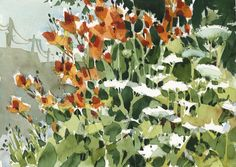 Daylilies and Queen Anne's Lace - watercolor painting by Shari Blaukopf