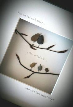 Irische handgemachte Kiesel Kunst-Geschenk für die Familie.