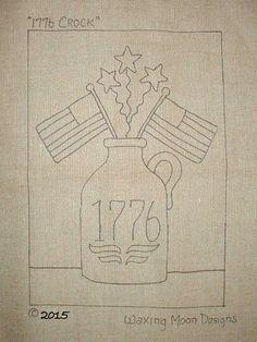 """1776 CROCK; Hand Drawn Rug Hooking Pattern; 14"""" x 20""""; Patriotic Design by WaxingMoonDesigns on Etsy"""