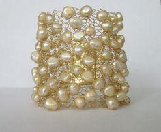Brazalete pulsera brazalete de perlas alambre punto