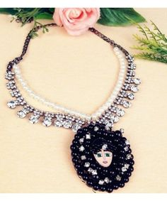 New Luxurious Multilayer Crystal Pearl Beauty Face Necklaces & Pendants Fashion Korea Jewelry