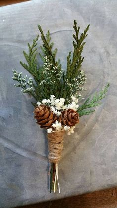 Boutonniere Sola Wood Boutonniere pinecone by TheBloomingCorner