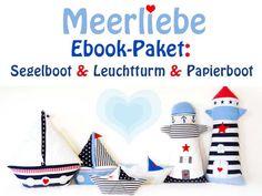 **Drei maritime E-Books im Paket: Leuchtturm + Segelboot + Papierboot-Kissen** Du erhältst in diesem Paket drei Nähanleitungen im PDF-Format: - Anleitung für Leuchtturm-Kissen - Anleitung für...