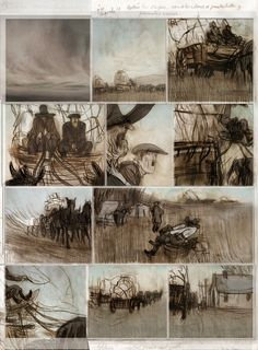 Storyboard by Jorge Gonzalez-beautiful line drawings comprised of graceful organic lines. Sepia tone adds an old look to it and supports the subject. Harmonious. Variety of points of view add interest.