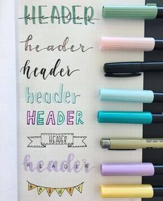 Bullet Journal Font Ideas you must see! - - Looking for a way to spice up your Bullet Journal? Learn everything about bullet journal fonts and how to improve your hand writing. Bullet Journal Title Fonts, Bullet Journal Note, Bullet Journal Headers, Bullet Journal Writing, Bullet Journal Aesthetic, Bullet Journal Ideas Pages, Bullet Font, Bullet Bullet, Bullet Journal Ideas Handwriting
