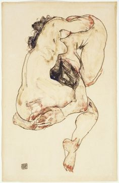 Egon Schiele - June 12, 1890 – October 31, 1918) was an Austrian painter. A protégé of Gustav Klimt, Schiele was a major figurative painter of the early 20th century. His work is noted for its intensity and its raw sexuality, and the many self-portraits the artist produced, including naked self-portraits. The twisted body shapes and the expressive line that characterize Schiele's paintings and drawings mark the artist as an early exponent of Expressionism.