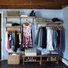 Our Victorian doesn't have a single closet, we decided to work with it and ditch the storage furniture to make our tiny home more open.