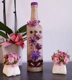 decorated wine bottle home wine bottle decor custom by InnArtShop