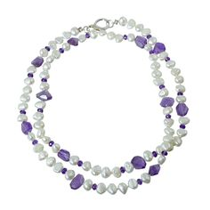 Necklace with pearls and amethyst
