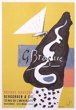 """Georges BRAQUE monté Mourlot Lithographie 1959 affiches originales 14 x 11"""" AO07"""