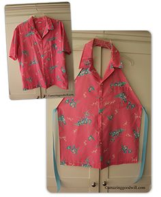Turn a shirt from #Goodwill into a handmade apron! This makes a great gift too.