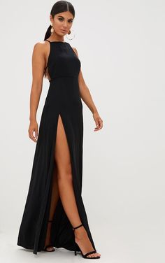 black maxi dress Black Strappy Back Detail Chiffon Maxi Dress Featuring a a black chiffon material, a strappy back design with adjustable straps and sultry thigh high split - this max Prom Outfits, Grad Dresses, Ball Dresses, Dress Outfits, Fashion Dresses, Dress Up, Summer Maxi Dresses, Long Evening Dresses, Dinner Dresses