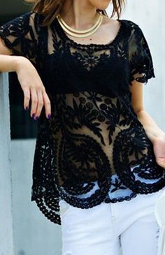 Black Patchwork Embroidery