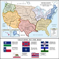 Shattered Union: 2021 by on DeviantArt American Civil War, American History, Imaginary Maps, Republic Of Texas, Alternate History, Alternate Worlds, Fantasy Map, Fantasy City, Swing State