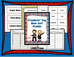 Classroom Freebies: Presidents' Day Noun Sort