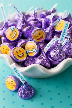 Emoji Fun With HERSHEY'S KISSES —Customize your colorful HHERSHEY'S KISSES by adding messages or emojis to the bottom of each one. Bonus: You can turn that into a KISS-ational emoji scavenger hunt game simply by asking your party-goers to find a specific 10th Birthday Parties, 12th Birthday, Slumber Parties, Girl Birthday, Birthday Candy, Birthday Ideas, Sleepover Snacks, Birthday Emoji, Gymnastics Birthday