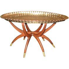Mid Century Modern OVAL Brass & Teak Spider Leg Table
