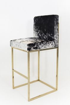 007 Bar Stool in B & W Spotted Cowhide @ ModShop