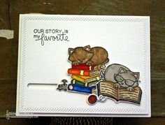Cats and Books slider Card by Larissa Heskett | Newton's Book Club Stamp set by Newton's Nook Designs #newtonsnook
