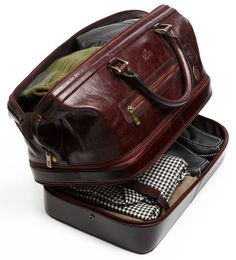 Leather expandable duffel