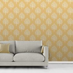 Fine Decor Annabelle Tree Yellow Wallpaper - FD41930