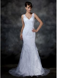Trumpet/Mermaid V-neck Court Train Satin Tulle Wedding Dress With Lace (002004597) - JJsHouse