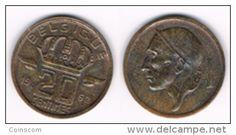 Belgium -  20 centimes - type Mineur (en français) KM# 146 1962  VF+/TTB+  RARE VERY CHEAP