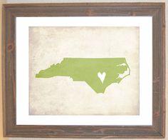 North Carolina Love State Customizable Art Print by mereleemade, $15.00