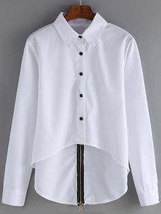 White Tuxedo Blouse Brand new. The back is longer with black zipper detailing. Will best fit sizes xsmall-small. Classy Outfits For Women, Casual Outfits, Cute Outfits, Blouse Styles, Blouse Designs, Girls Fashion Clothes, Fashion Outfits, Fancy Tops, Stylish Dress Designs