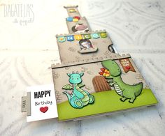 """Bagatelas de papel: A triple interactive Birthday card for the My Favorite Things """"Card Design Superstar Challenge"""""""