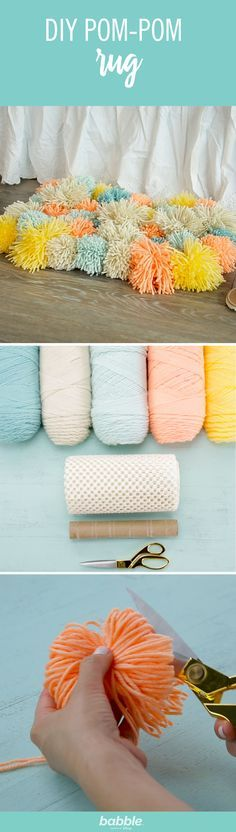 Save your old paper towel roll then grab some yarn, scissors, and a rug mat to create this simple DIY Pom-Pom Rug. Customize the colors and you'll have the perfect accent for your floor. This rug is s (Diy Pillows Pom Pom) Diy Pom Pom Rug, Pom Pom Crafts, Yarn Crafts, Diy And Crafts, Pom Poms, Towel Crafts, Diy Simple, Easy Diy, Creation Deco