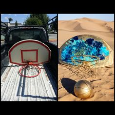 Before and after of basketball hoop painted by @M3Visualz